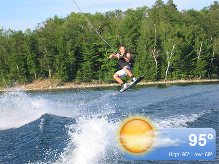 My brother, Adam, getting some airtime on the wakeboard